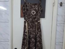 Rochie maro cu model crem si bretele marimea M - Noua