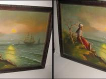 Tablou peisaj marin femeie corabii pescarusi, subiect romant