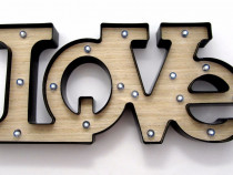 Panou decorativ luminos 3D – LOVE - 52 x 24 cm - nou -
