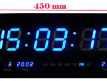 Ceas digital cu LED display mare ultraslim albastru