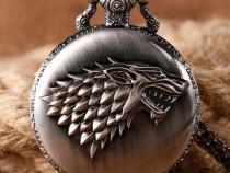Ceas de buzunar game of thrones medalion pandantiv argintiu