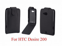 Husa piele pu, HTC DESIRE 200, flip cover cu clapeta, neagra