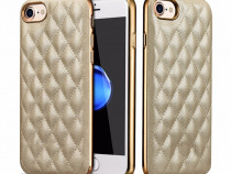 Husa slim piele cusuta, Xoomz iPhone 7 back cover roz, gold