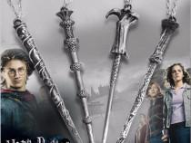 Pandantiv Colier Lantisor Medalion Bagheta Harry Potter