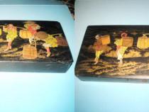 Caseta Penar lemn-carton negru China veche.