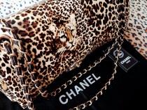Genti Chanel piele naturala lacuita/model animal print