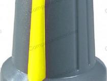 Buton pentru potentiometru, 15mm, plastic, gri-galben-127002
