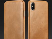 Husa piele naturala iCarer, iPhone X, clapeta curbata, CAMEL