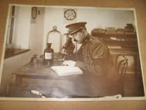 Militar cercetator stiintific Belgia 1923 Foto cu dedicatie.
