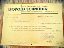 Act vechi-Rechnung Leopold Schneider SchlosserMeister Wien
