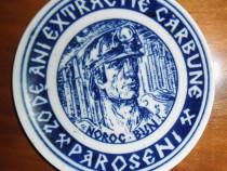 Farfurie comemorativă 20 ani minerit Paroșeni (Valea Jiului)