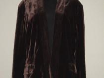 Jacheta noua, din catifea fina de matase, maro ciocolata
