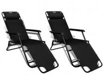 Set 2 șezlonguri pliabile Negru (41334)