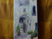 Prin vechiul oras 2-pictura ulei pe panza;