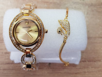Ceas ceasuri Swarovaski Auriu GOLD Elegant Cadou cadouri pen