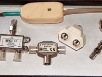 Lot RF (3 splitere, 9 mufe coax, adaptor bifilar-coax)