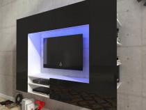 Vitrină lucioasă cu unitate TV și iluminare LED, 169(242679)