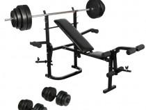 Bancă fitness, halteră și set gantere(270166)