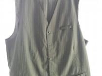 Costum ospatar, negru dungi verticale, pantalon+vesta inclus