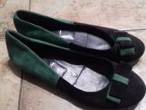 Balerini, piele naturala, marime 36, culoare verde/negru