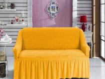Husa din bumbac elasticizat canapea 3Locuri Mustar Deschis