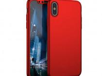 Husa Telefon Plastic+Sticla Apple iPhone X iPhone XS 360 Ful