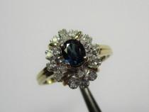 Inel Vintage Aur 14K Piatra Safir 0,30Crt Si Diamante 0,20Cr