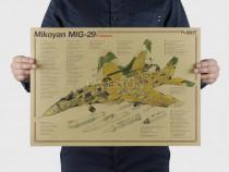 Poster vintage avion Mikoyan MIG-29 Fulcrum hartie kraft