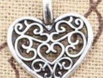 Pandantiv medalion inima argint tibetan charm filigran