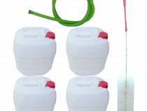 4 x Canistra 10L plastic alimentar + Perie canistre + furtun