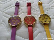 Ceasuri dama cadran cu inimioare culori pe galben/roșu/mov