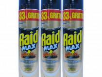 3x Raid MAX, Spray insecte taratoare, Gandaci, 3 x 400ml