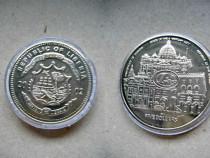 A195-UNC-Medalie moneda 5 dolari Liberia 2002.