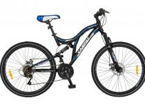 """Bicicleta MTB-FS 26"""" CARPAT Muddy Horse, otel,negru/albastru"""