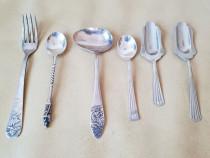 Colectie 6 lingurite si furculite argintate pentru desert