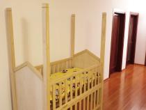 Patut bebe copil bebelus baldachin lemn masiv 60x120cm crem
