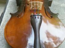 A406- Vioara  cu partituri de colectie si decor din lemn.
