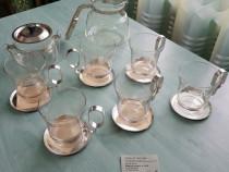 Set de ceai vintage din sticlă și metal