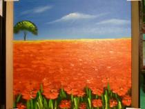Tablou pictat manual pe panza in ulei , Peisaj florar A-458