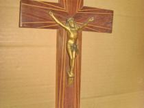 A524-Crucifix alama si lemn vechi mahon intarsiat anii 1900-