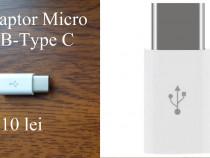 Adaptoare Micro USB-Type C albe