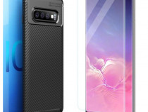 Husa Carbon + Folie Curbata Samsung S9 S9+ S10E S10 S10+