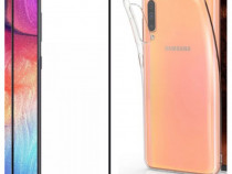 Samsung A30 A30S A50 A50S - Husa Silicon si Folie Sticla 11D
