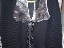 Geacă groasă de tricot cu guler de blană, model 2020
