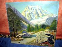 506A-Tablou peisaj munte gen austriac ulei pe placaj.