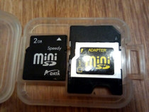 Card de memorie mini sd 2 gb + adaptor mmc, nou !