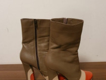 Pantofi de dama din piele cu toc (12cm).