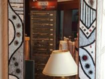 Oglinda cu rama lemn mozaicat cu sticla Murano, 690x40x1140