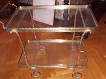 Gheridon din bronz si sticla