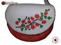 Geanta piele naturala lucrata manual MARY WHITE&RED FLOWERS